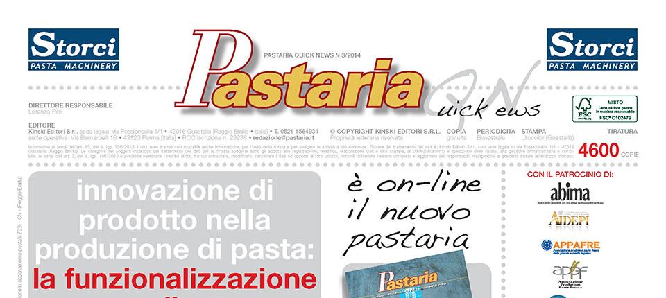 È on-line Pastaria 3/2014! Scarica subito il nuovo numero del magazine per produttori nazionali e internazionali di pasta alimentare