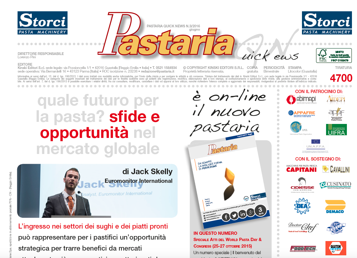 È in distribuzione Pastaria Quick News 3/2016