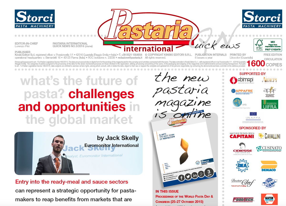 Pastaria International Quick News 3/2016 is currently being distributed