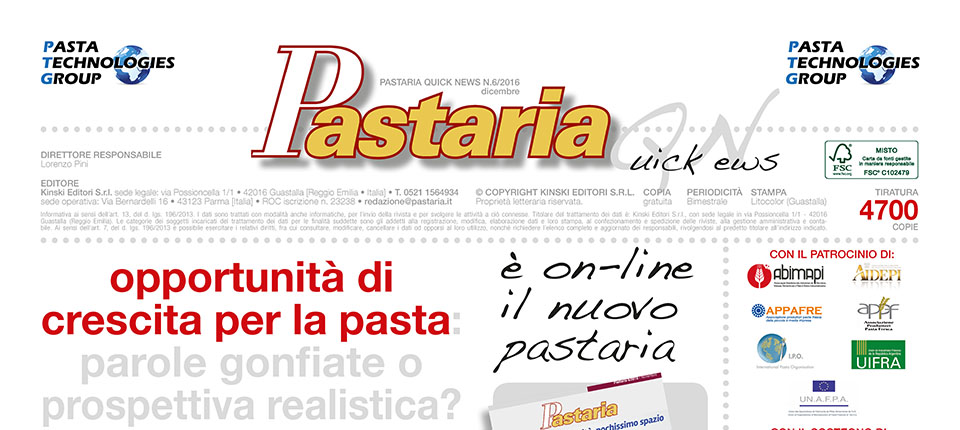 È in distribuzione Pastaria Quick News 6/2016