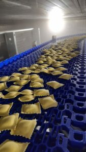 Sarp freezing spiral for stuffed pasta