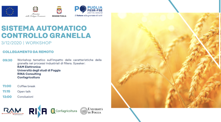 """3 Dicembre 2020: workshop """"Sistema Automatico Controllo Granella"""