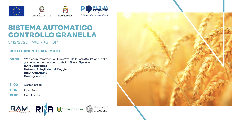 """3 Dicembre 2020: workshop """"Sistema Automatico Controllo Granella"""""""